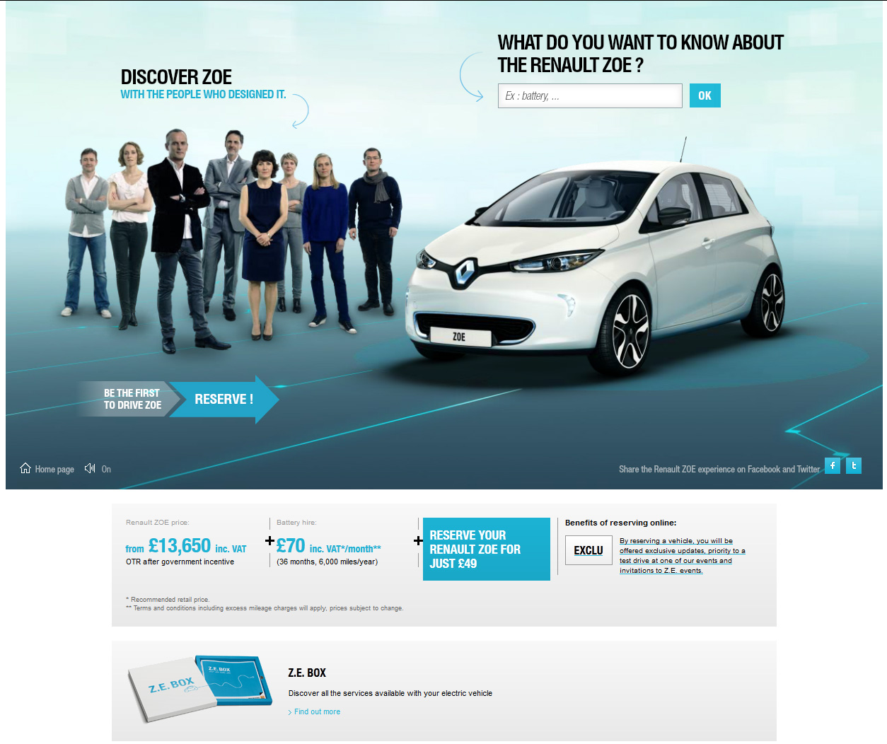 Zoe Page on Renault Website