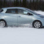 Renault Zoe EV getting ready to plow snow at the Andros Trophy racing series