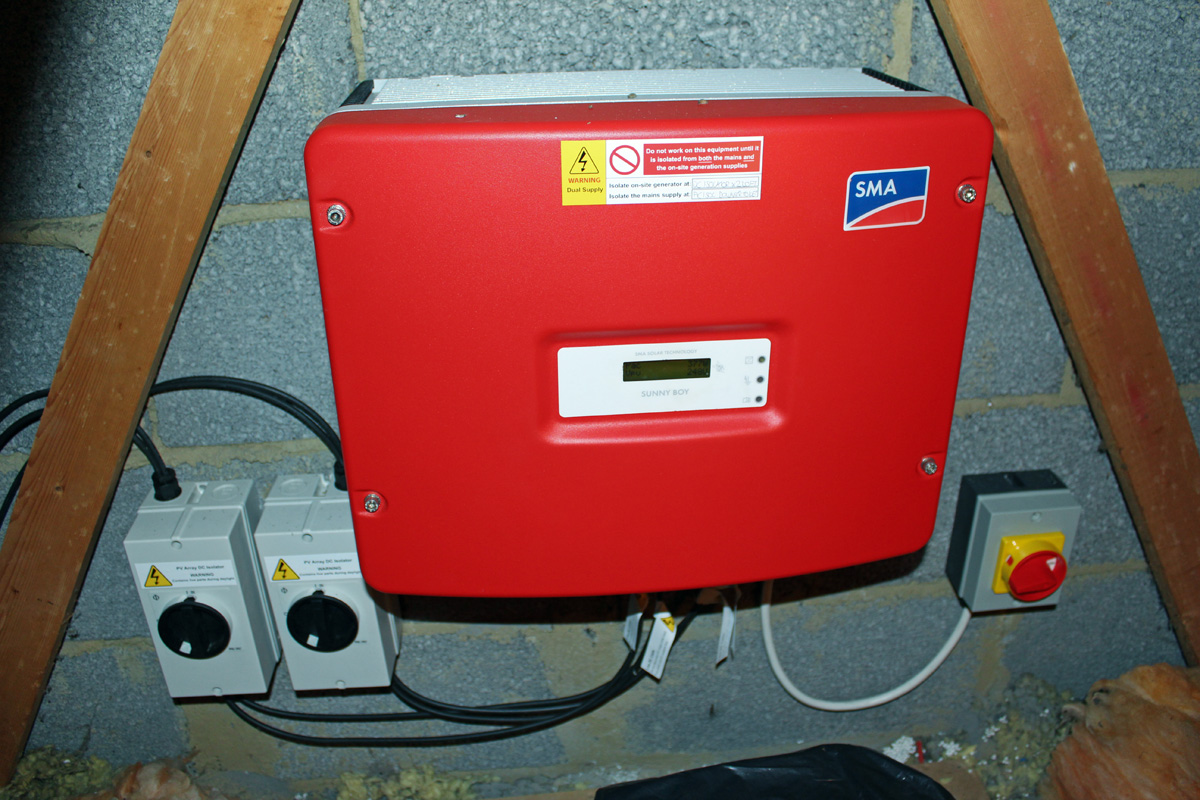 Left to Right: Panel Isolators, Inverter, and Inverter Isolator (Image: T. Larkum)