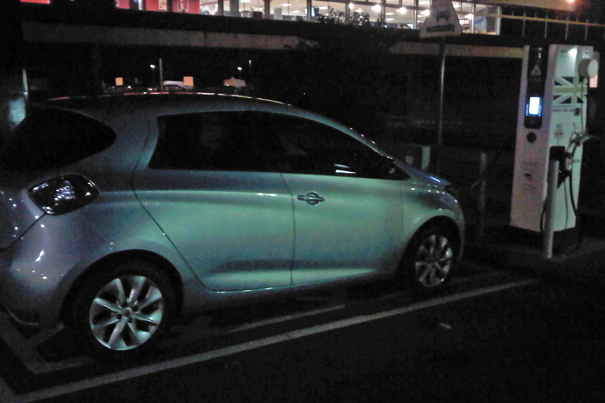 ZOE charging at Leicester 43kW fast charger (Image: A.K.)