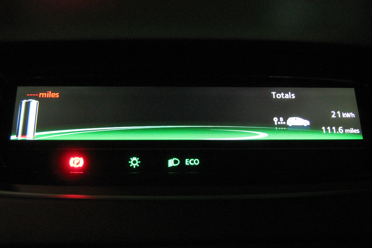 Arriving home in turtle mode: 21kWh used, flashing battery icon, red text and battery (Image: T. Larkum)
