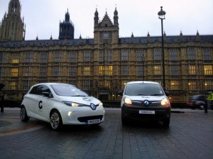 Renault ZOE and Kangoo were at Westminster for the launch of the GoUltraLow campaign (Image: Renault/Twitter)