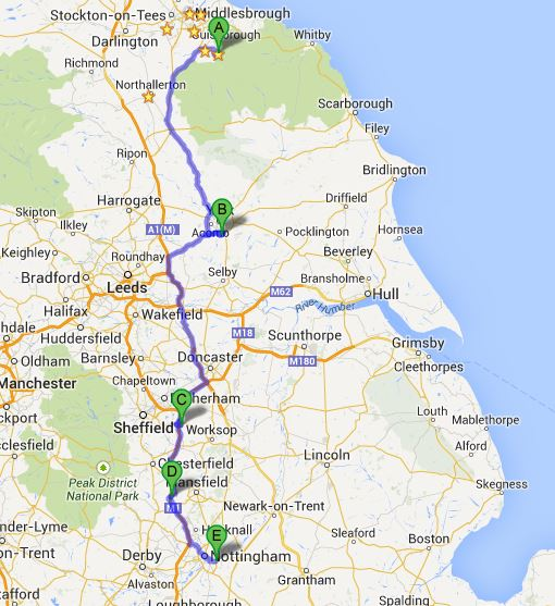 North Yorkshire to Nottingham and back (Image: Timbo)
