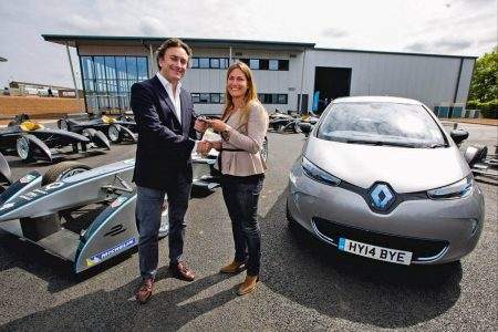 Formula E CEO Alejandro Agag takes delivery of his new Renault ZOE,Vanessa Reffay, Motorsport Communication Manager, Renault (Image: Renault)
