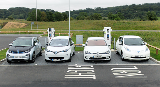 A row of electric cars at a rapid charger station (Image: Ecotricity)